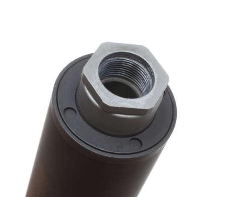 the silencer: End of a silencer that screws onto a gun barrel