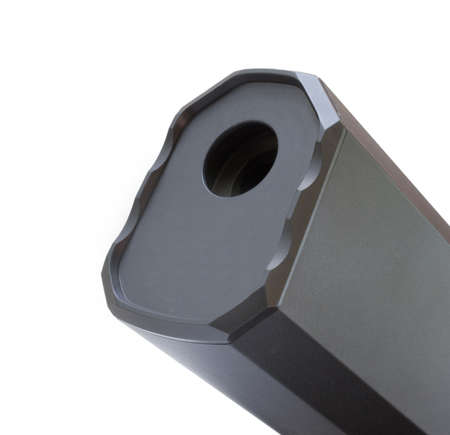 Muzzle side of a suppressor isolated on a white background