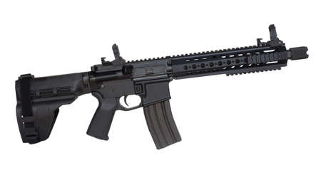 AR-15 handgun that is isolated on a white background