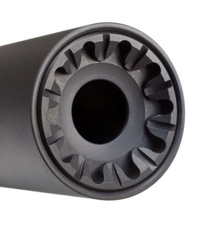 Front side of a suppressor that is isolated on white