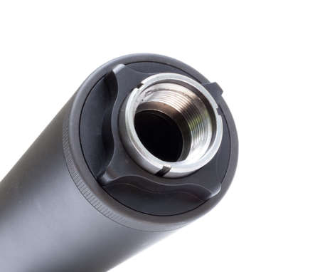 the silencer: Side of a silencer that screws onto a gun with a white background