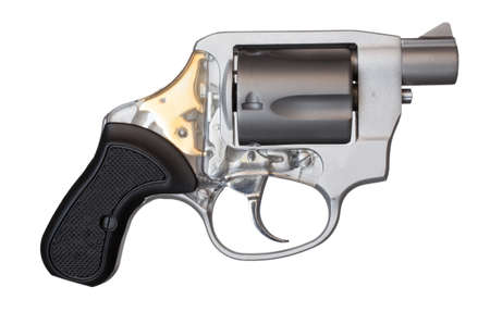 Short barreled revolver that is isolated on white