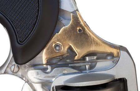 Clear sideplate on a revolver to show the inner workings of the gun