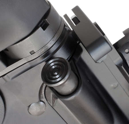 Forward assist button on the side of a semi automatic rifle Stok Fotoğraf