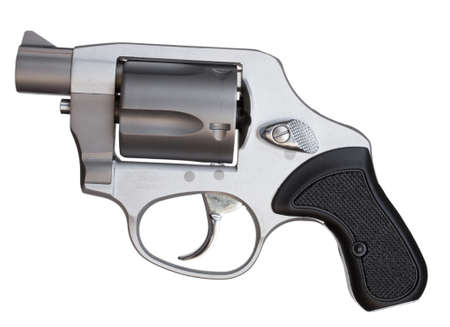 Metal revolver with a short barrel isolated on white
