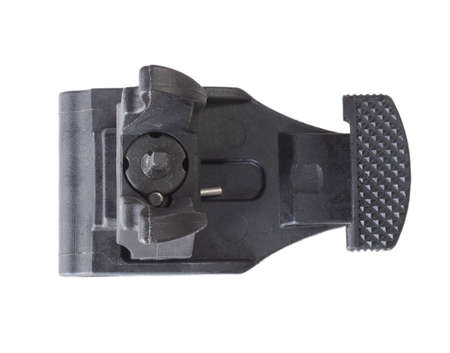 Backup front iron sight for an AR-15 rifle on white 版權商用圖片