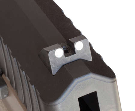 Rear sight that is on a polymer and steel handgun