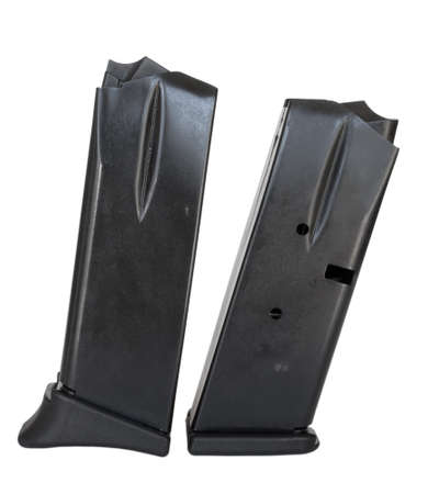 semi automatic: Magazines for a semi automatic handgun isolated on white Stock Photo