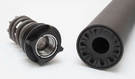 the silencer: Silencer and valve for attaching to a gun on white Stock Photo