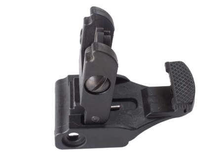 semi automatic: Backup iron sights for a semi automatic rifle on white