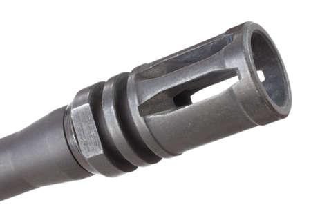 flash hider: Bocacha en un moderno rifle deportivo aislado en blanco Foto de archivo