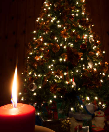 Single flame from a candle in front of a Christmas tree photo