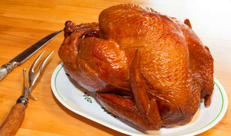 Fresh turkey that has come out of the smoker