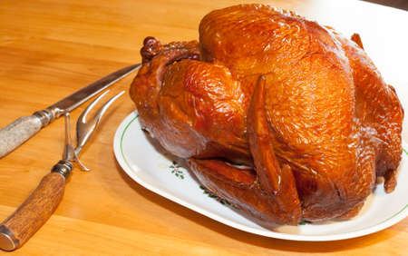 browned: Browned turkey that is fresh out of the smoker