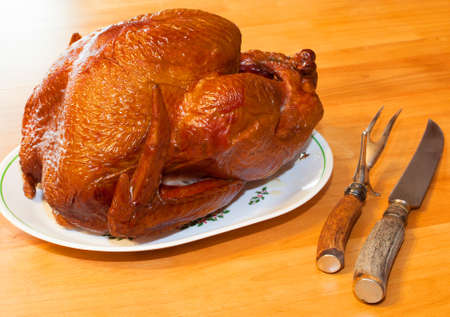 browned: Browned turkey that has spent hours in the smoker