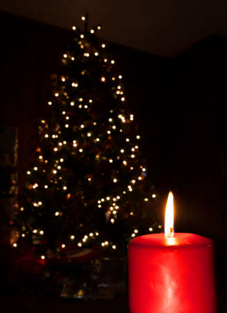 Red candle burning brightly in front of a Christmas tree photo