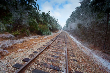black and white railroad tracks: Old railroad tracks with ice covering trees on the sides Stock Photo