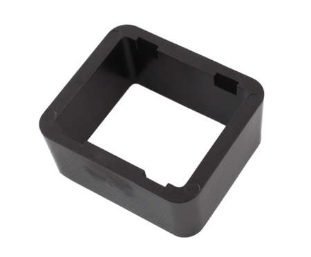 grooves: Black plastic rectangle with grooves on its sides