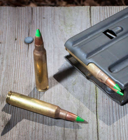 allegedly: Pair of cartridges that allegedly pierce armor and a magazine