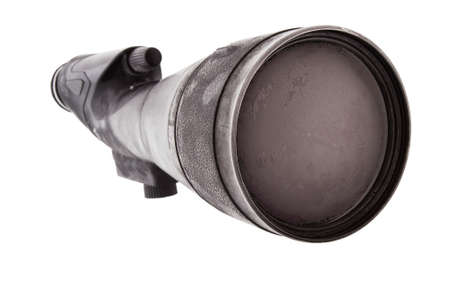 high powered: High powered spotting scope that has been in a storm