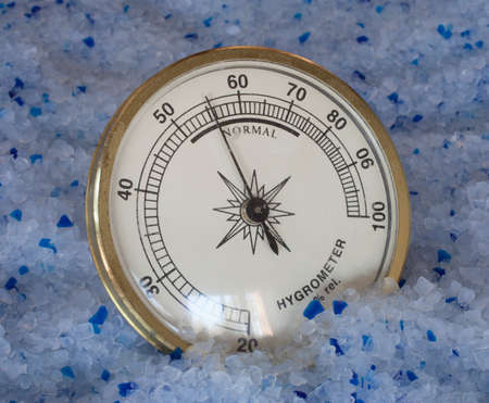 silica: Hygrometer with a high humidity reading on silica gel
