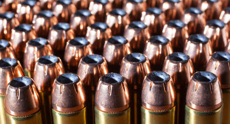 magnum: Hollow point bullets on cartridges for a forty four magnum Stock Photo