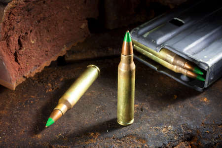 ammo: Small rifle ammo with green tips and a loaded magazine behind
