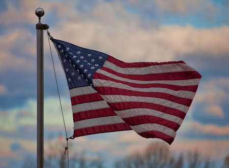 old glory: United States flag that is in a breeze over the Shenandoah Valley Stock Photo
