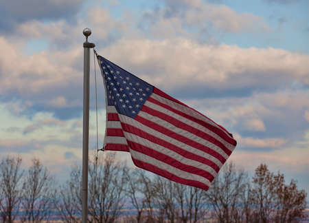blue ridge: American flag caught in a breeze on the Blue Ridge in Virginia Stock Photo
