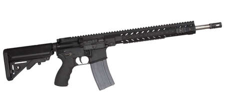 Black semi automatic rifle  that is isolated on a white background