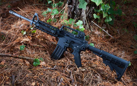 assault rifle: Assault rifle that is black that is in some thick trees