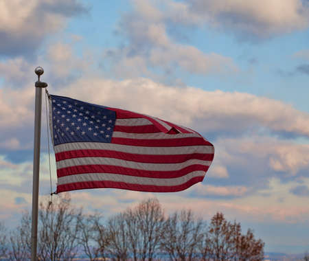 proudly: American flag waving proudly over the Shenandoah Valley in Virginia