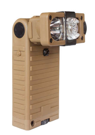 polarity: Tan flashlight with a rotating head isolated on white Stock Photo
