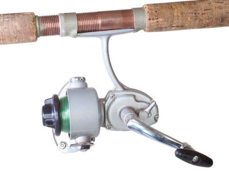 fiberglass handle: fishing reel made out of metal that goes underneath the rod Stock Photo