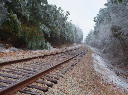 black and white railroad tracks: Railroad tracks that wind through an icy forest
