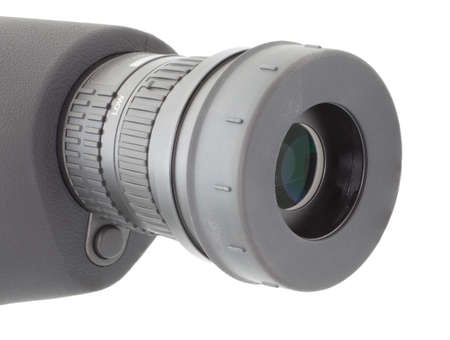 eyepiece: Eyecup on the eyepiece of a spotting scope that is deployed on white Stock Photo