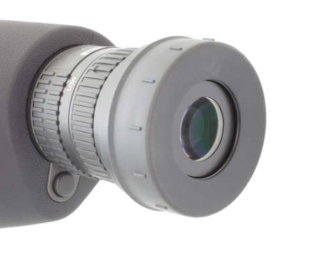 an eyepiece: Rubber ring around the eyepiece of a spotting scope that is down Stock Photo