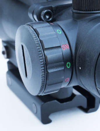 brightness: Dial that is used to adjust the reticle brightness in a rifle scope