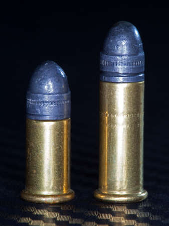 twenty two: Two cartridges that are rimfire and used in twenty two caliber firearms Stock Photo