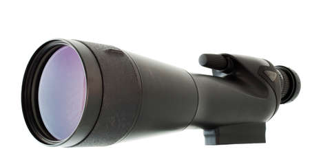 high powered: High powered spotting scope that is on a white background Stock Photo