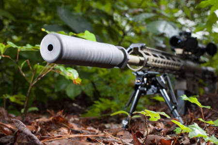 silencer: Rifle with a silencer that is in a bunch of bushes