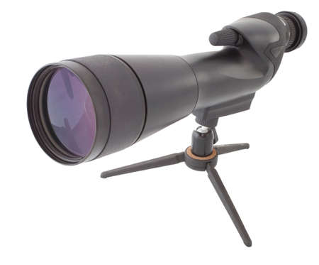 Hoog aangedreven spotting scope, dat is geïsoleerd op wit Stockfoto