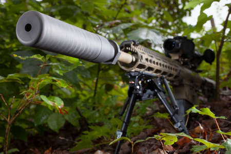 Semi automatic rifle with a suppressor in the trees 版權商用圖片 - 44670983