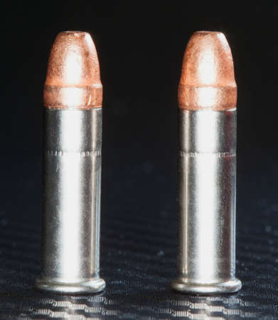 twenty two: Rim fire cartridges that are used in a twenty two Stock Photo