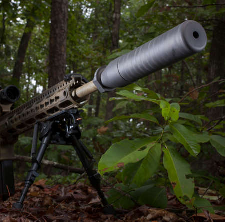 Semi automatic modern rifle with a silencer in the forest