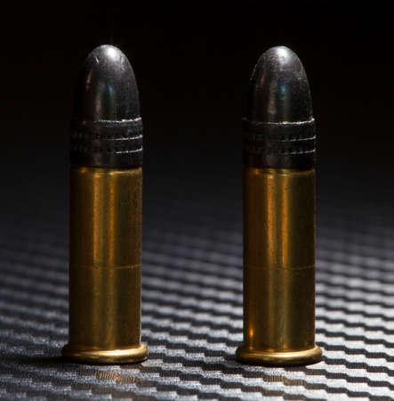 twenty two: Two cartridges designed for use in rimfire twenty two guns Stock Photo