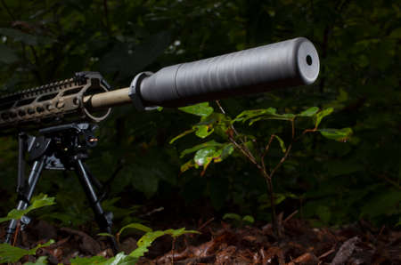 the silencer: Semi automatic rifle in the bushes with a silencer attached