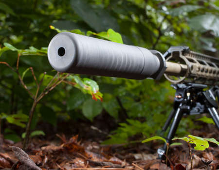 suppressor: Grey suppressor on a rifle that is in a bunch of trees