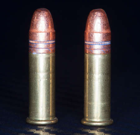 twenty two: Rimfire cartridges in twenty two with copper plated bullets Stock Photo
