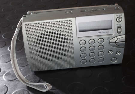 shortwave: Battery powered radio that can pick up radio broadcasts including shortwave Stock Photo